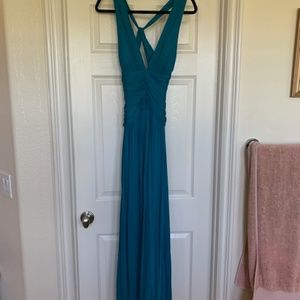 Teal Backless Gown